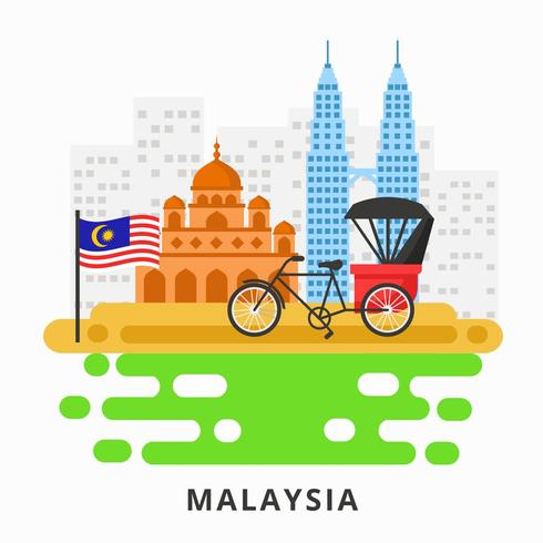 490x490 Malaysia With Twin Tower, Mosque, And Trishaw Vector