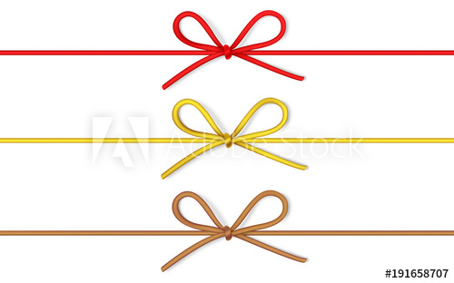 500x312 Set Of Decorative String Bow With Horizontal Thin Rope Isolated On