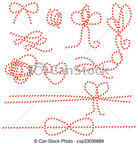 450x470 Twine Rope Bows, Gift Ties. Red And White String Pattern... Vector