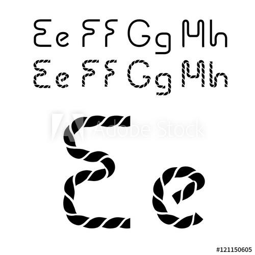 500x500 Vector Twine Font Alphabet