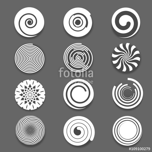 500x500 Motion Spiral Or Swirl Vector Icons. Spinning White Spiral And