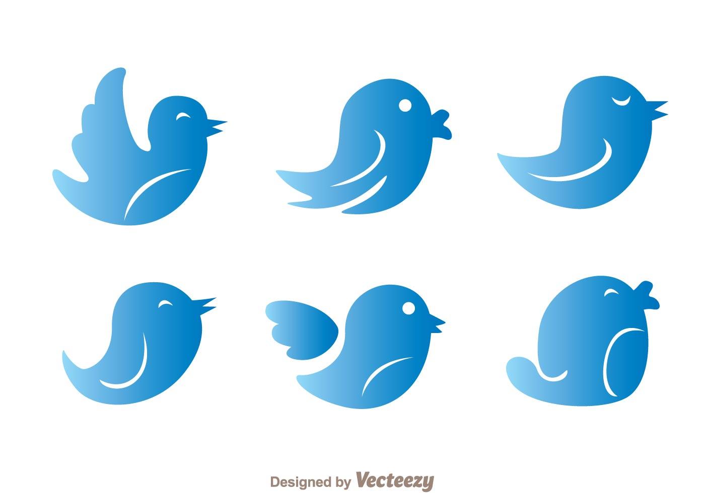1400x980 Blue Gradation Twitter Bird Vectors