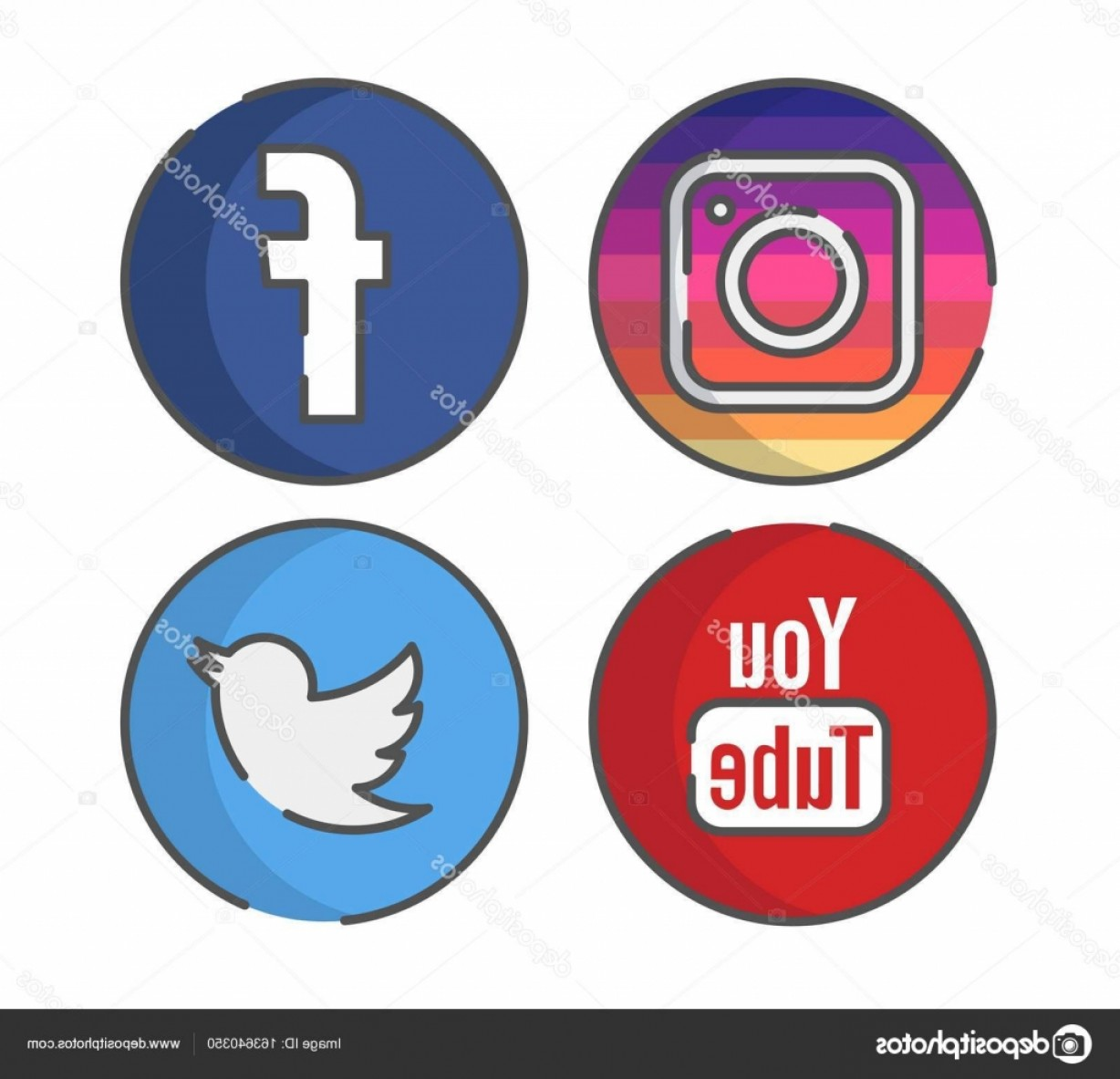 1228x1183 Stock Illustration Instagram Facebook Youtube Twitter Icon Arenawp