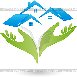 300x300 Logo, Real Estate, Three Houses, Two Hands