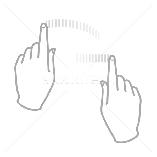 600x600 Touch Screen Gesture 2 Hands Vector Illustration Kraska