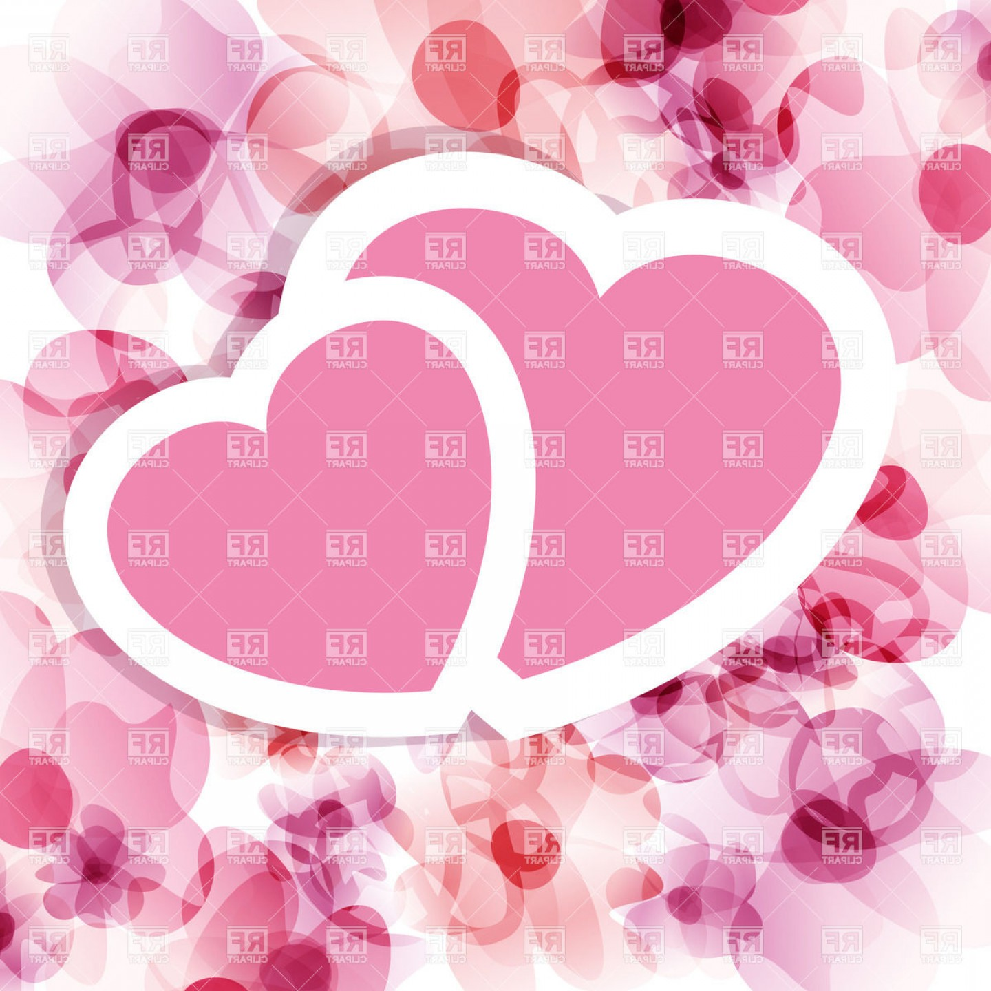 1440x1440 Pink Valentine On Floral Backround Two Hearts Vector Clipart Arenawp