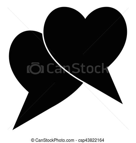 450x470 Two Hearts Icon, Simple Style. Two Hearts Icon. Simple
