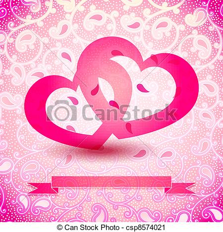 450x470 Two Hearts Vector Illustration With Ribbon Space For Your