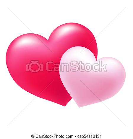 450x470 Two Hearts. Two Gentle Pink Hearts, Symbol Of Love, Excellent