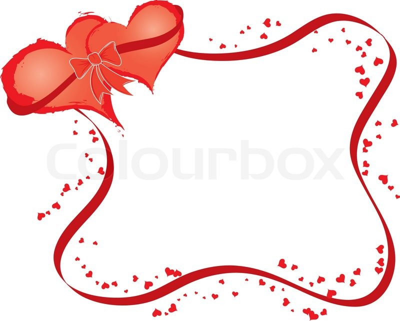 800x642 Valentines Frame With Two Hearts, Vector Illustration Stock