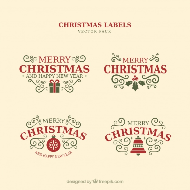 626x626 Christmas Typographic Elements, Vintage Labels And Ribbons Vector