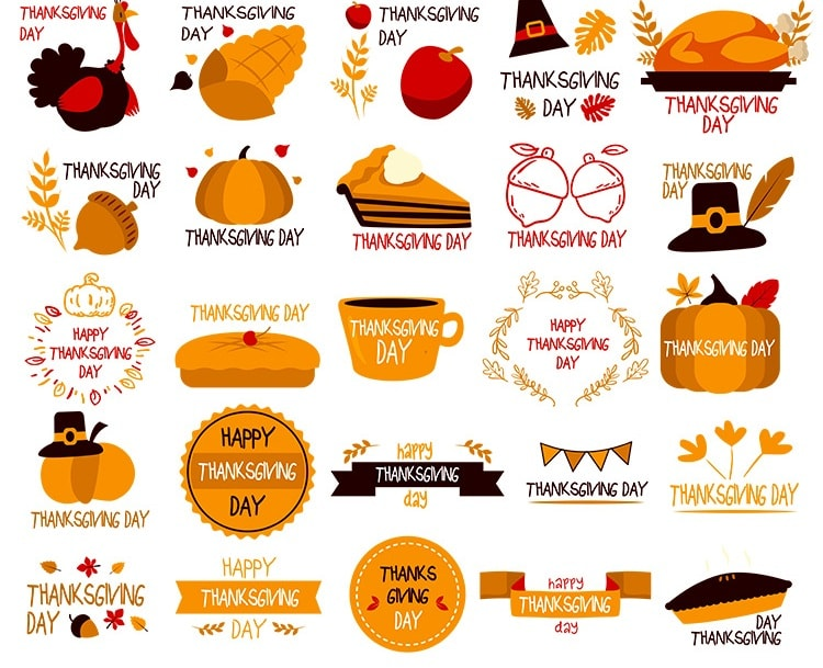 750x609 Free Vector Thanksgiving Day Typography Elements