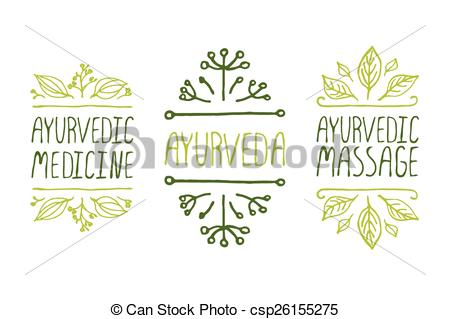 450x319 Hand Sketched Typographic Elements. Ayurveda Product Labels