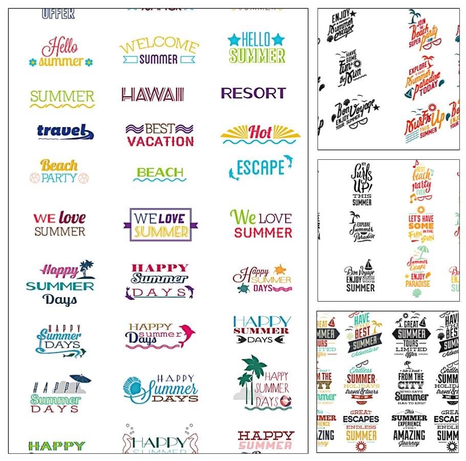 910x900 Summer Typography Elements Vector Set Free Download