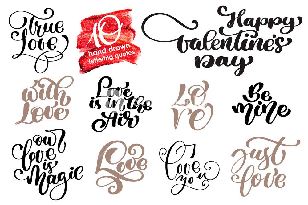 1000x665 Valentine Love Romantic Lettering Set. Calligraphy Postcard Or