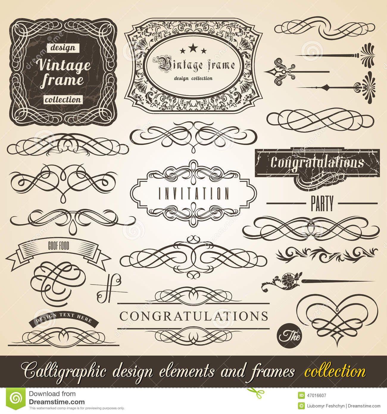 1300x1390 Vector Calligraphic Element Border Corner Frame And Invitation