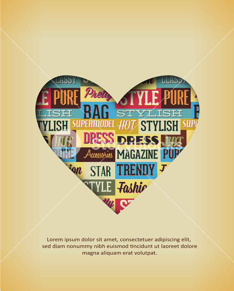 805x1000 Vector Illustration With Typography Elements And Heart Shape