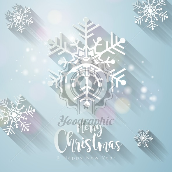 590x590 Vector Merry Christmas Illustration With Gold Glass Ball, Cutout