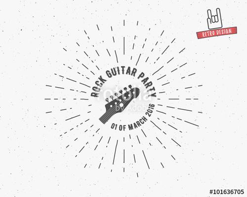 500x400 Vector Vintage Guitar Label With Sunburst, Typography Elements