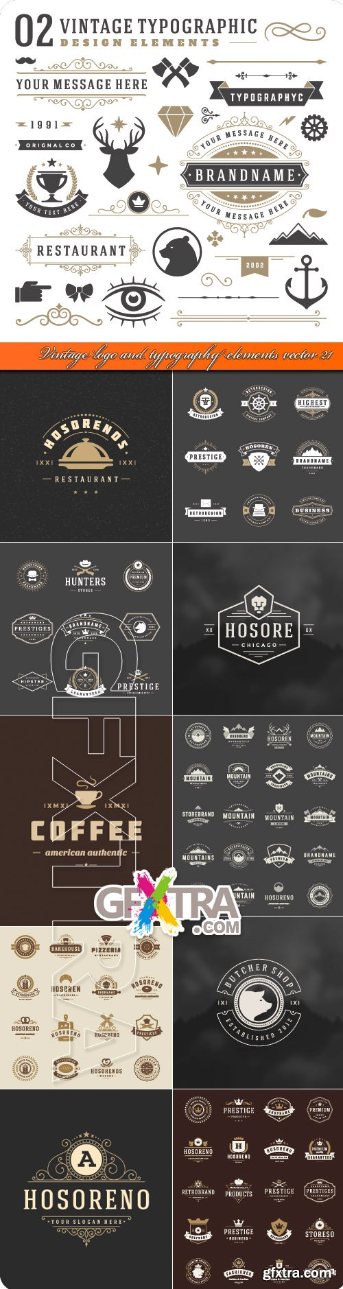 500x1879 Vintage, Logo, And, Typography, Elements, Vector, 21