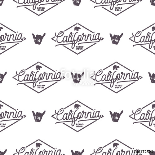 500x500 California Surfing Monochrome Seamless Pattern With Shaka Sign And