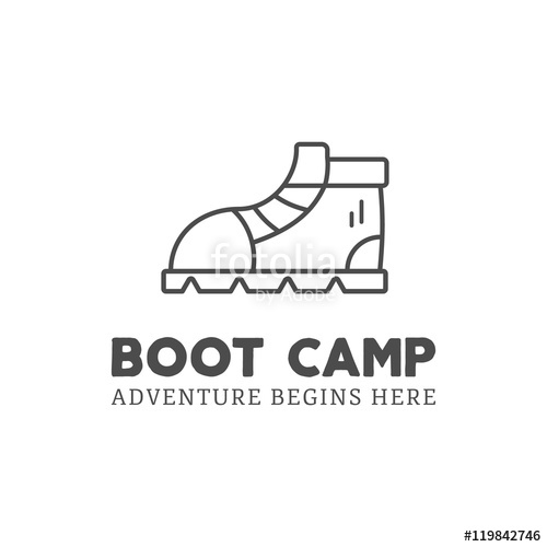 500x500 Camping Adventure Logo Design With Boot And Typography Elements