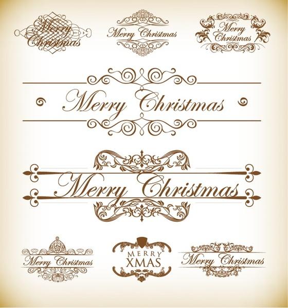 560x600 Christmas Decoration Calligraphic And Typographic Elements Free