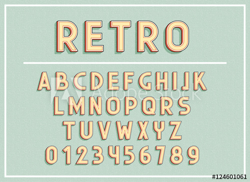 500x364 Retro Fonts And Abc Letters Print Typography Vector Illustration