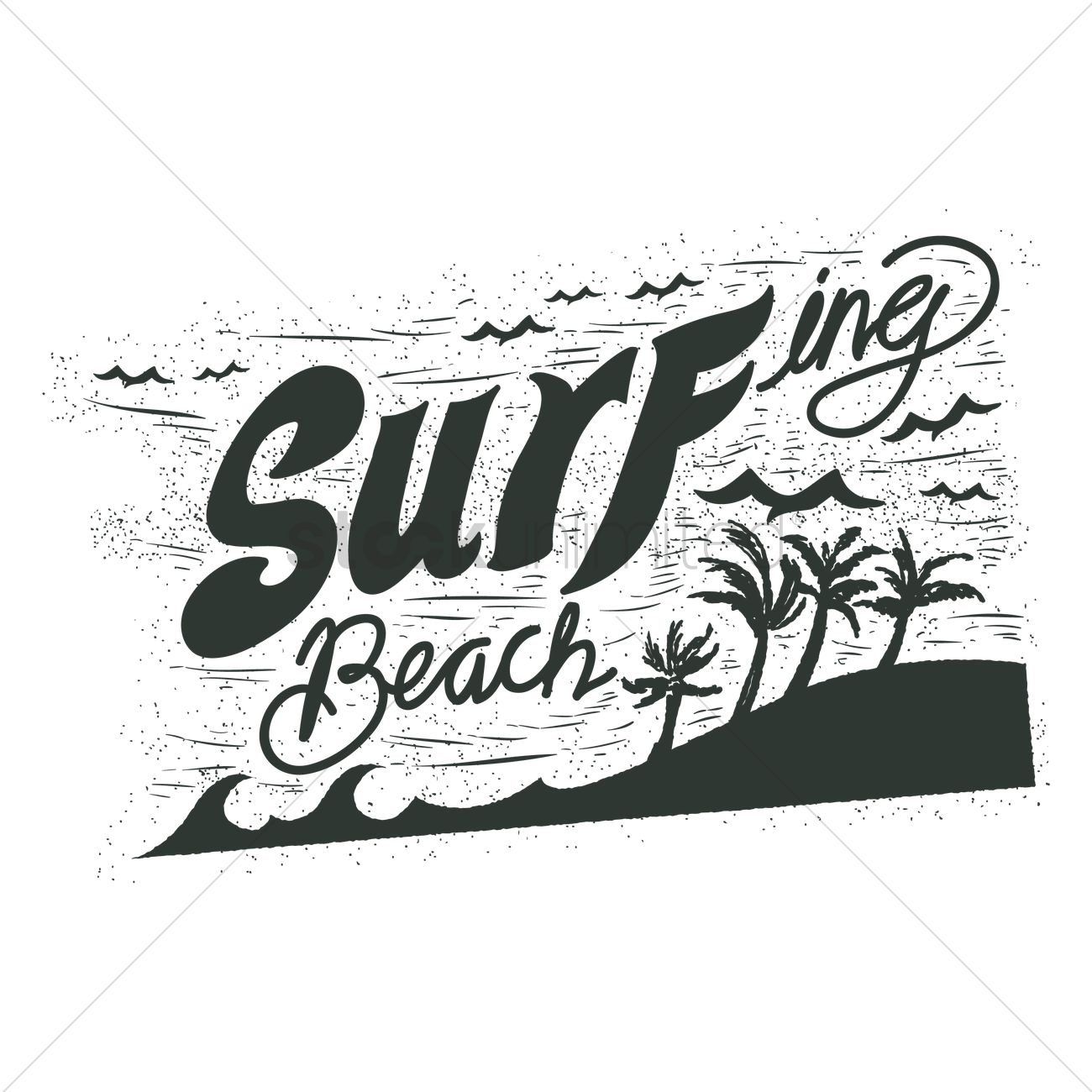 1300x1300 Surfing Beach Typography Vector Image