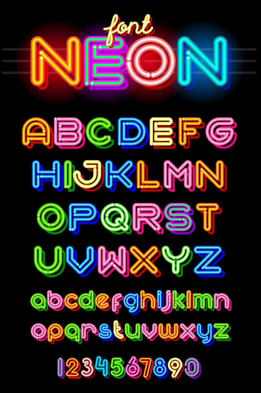 1024x1540 Neon Color Alphabet Typography Vector Element Free Download Pikbest