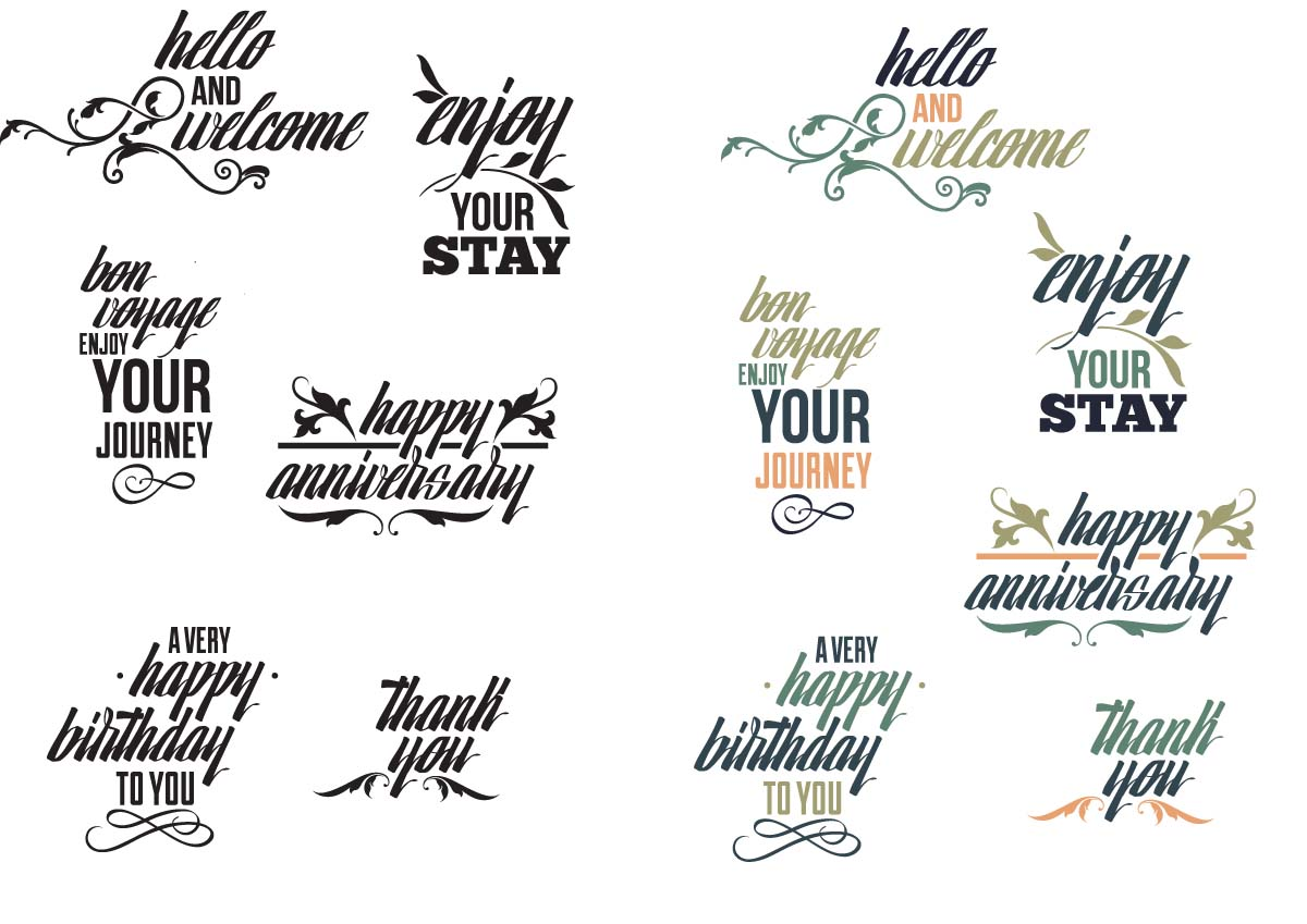 1200x849 Common Phrases Typography Set Vector Free Download