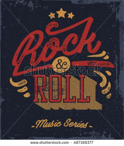 397x470 Rock And Roll Typography. Vector T Shirt Or Poster Design. Tee