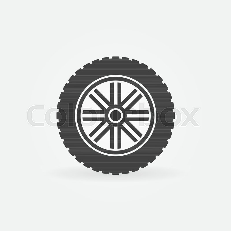 800x800 Car Wheel With Tyre Vector Modern Icon Or Design Element Stock