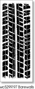 152x382 Art Print Of Trace Of The Tyre, Vector Barewalls Posters