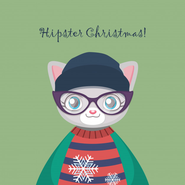 626x626 Cute Hipster Kitty Cat With An Ugly Christmas Sweater Vector