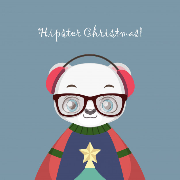 626x626 Cute Hipster Polar Bear With An Ugly Christmas Sweater Vector