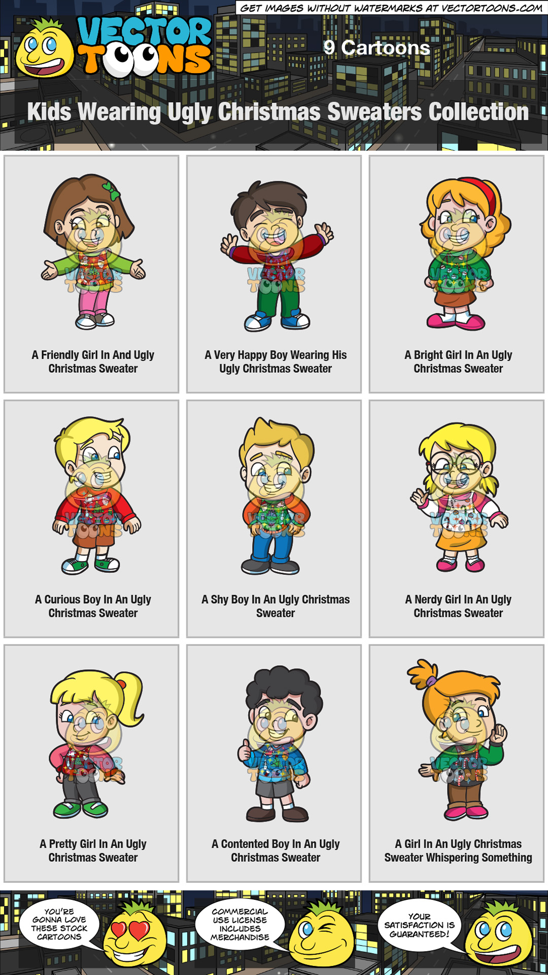 1080x1920 Kids Wearing Ugly Christmas Sweaters Collection Clipart By