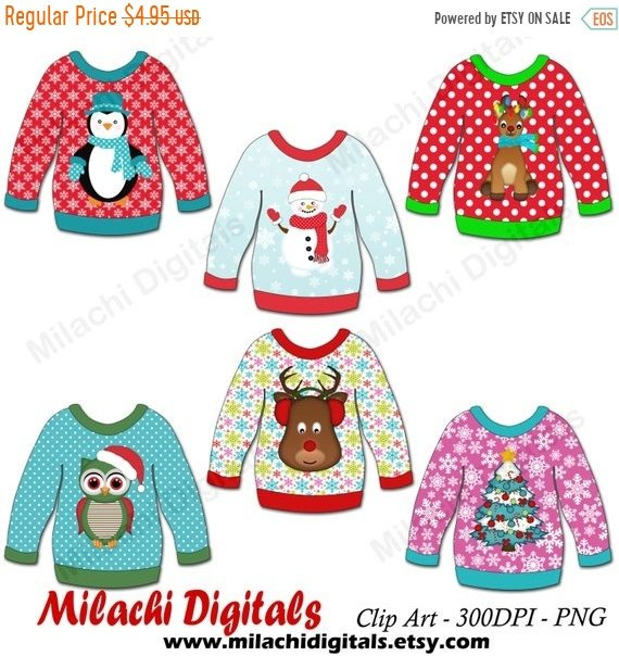 570x604 60% Off Sale Ugly Christmas Sweater Clipart Christmas Etsy