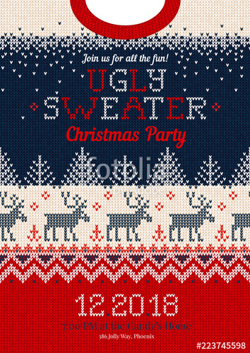 354x500 Ugly Sweater Christmas Party Invite, Knitted Background Pattern