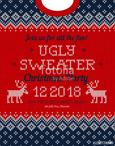 395x500 Ugly Sweater Christmas Party Invite. Knitted Background Pattern