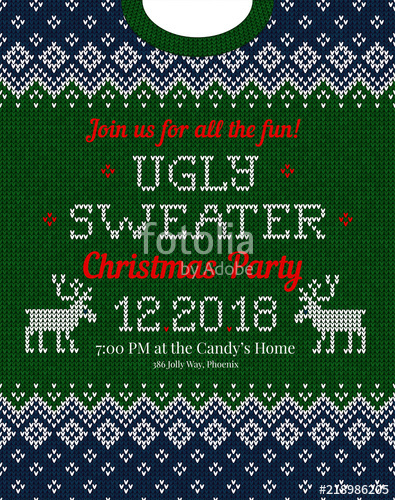 395x500 Ugly Sweater Christmas Party Invite. Vector Illustration Handmade