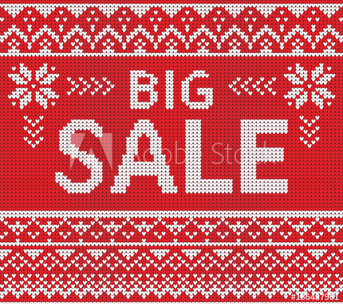 500x443 Winter Sale Discount Banner. Ugly Sweater. Vector Illustration