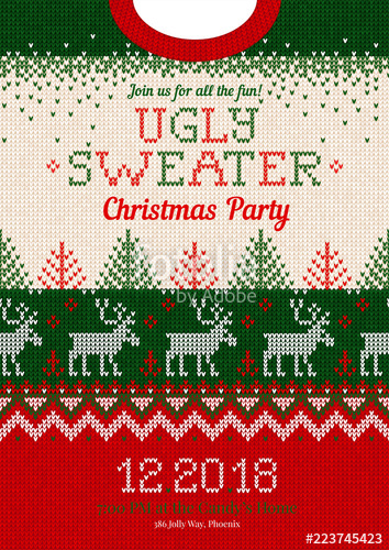 354x500 Ugly Sweater Christmas Party Invite. Vector Illustration Handmade