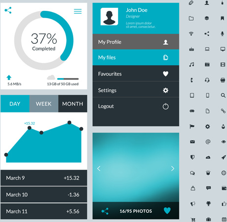 462x452 Mobile Flat Ui Kit Vector Design Free Vector In Encapsulated