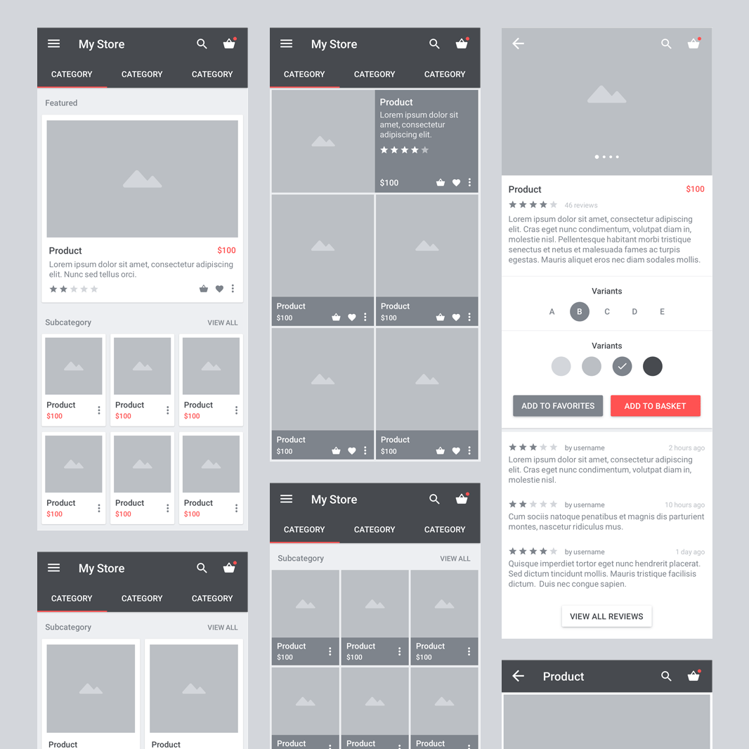 1066x1066 Carbon Material Wireframe Ui Kit Freebies