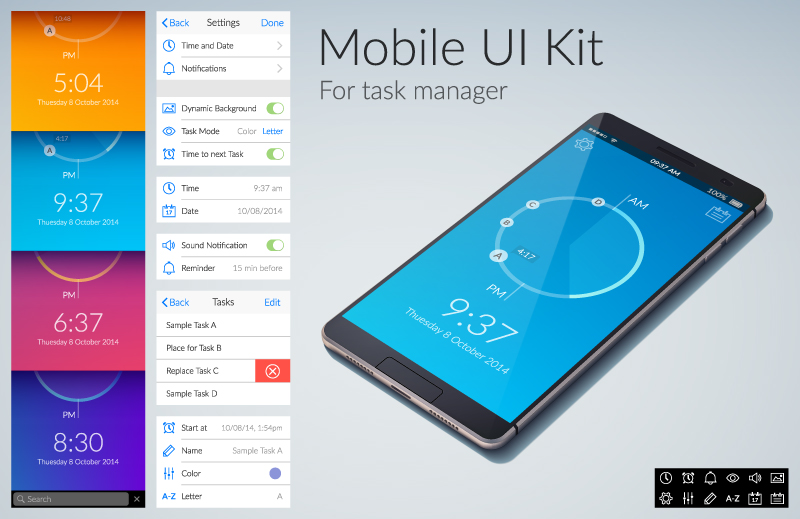 800x519 Mobile Task Manage Ui Kit Vector Free Vector Graphic Download