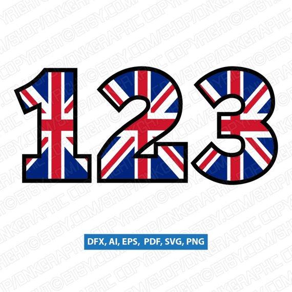 570x571 United Kingdom Union Jack Uk Flag Numbers Svg Vector Etsy