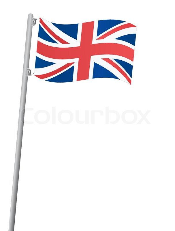 607x800 United Kingdom Flag On A Flagstaff Vector Illustration Stock