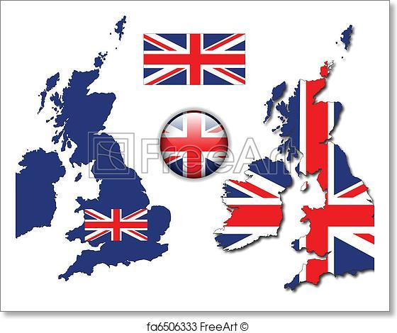 560x470 Free Art Print Of England Uk Flag, Map, Button Vector. United