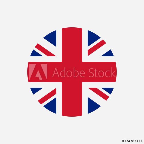 500x500 Great Britain Flag. Union Jack Round Logo. Circle Icon Of United